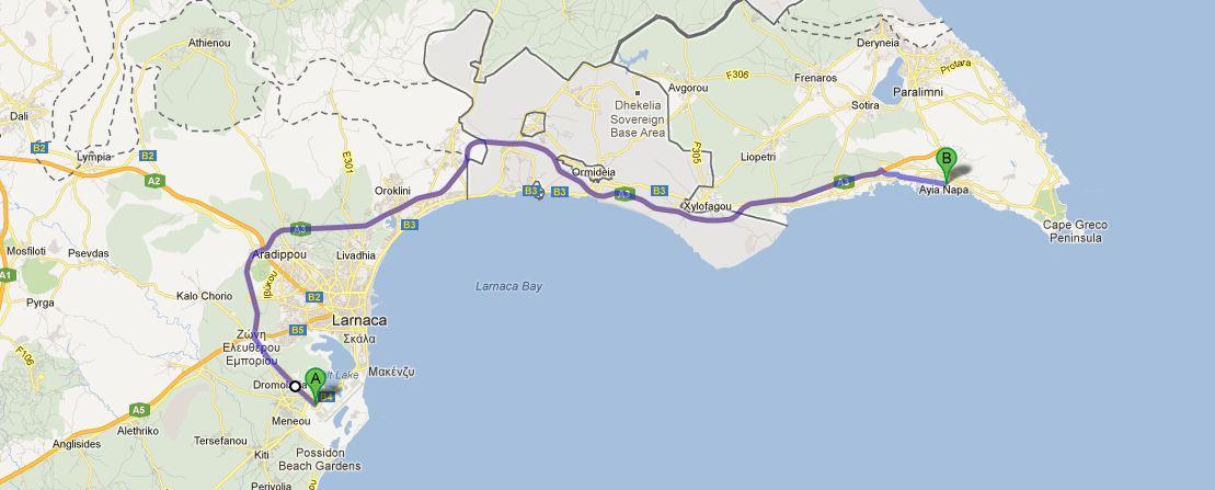 Taxi From Larnaca Airport To Ayia Napa Pan Coaches LTD Bus